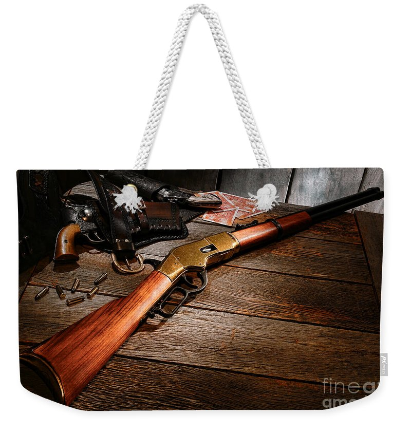Western Weekender Tote Bag featuring the photograph Waiting For The Gunfight by Olivier Le Queinec