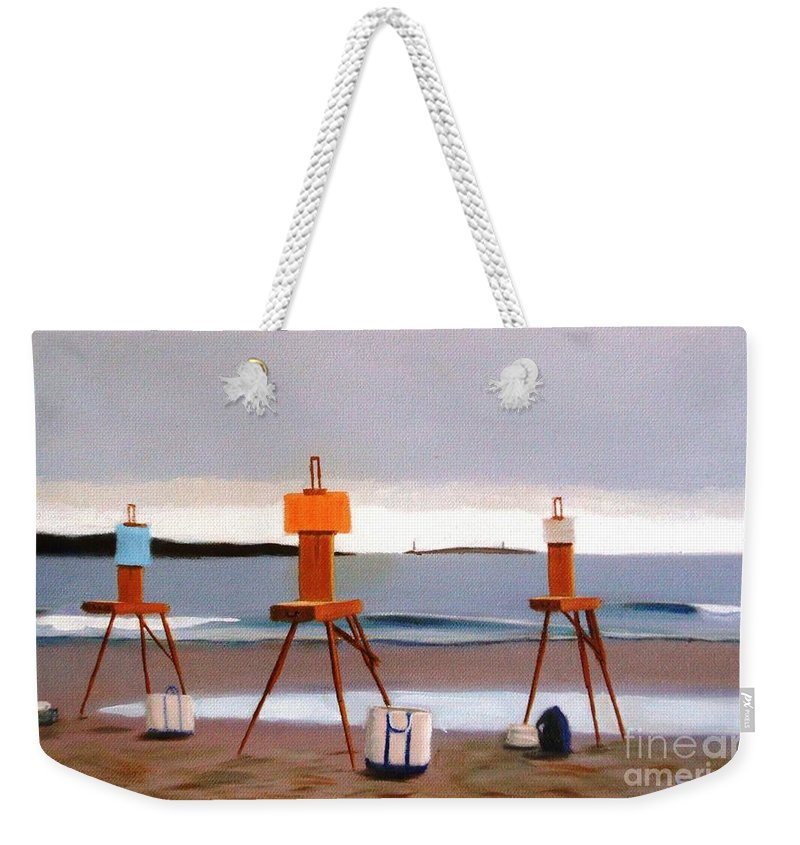 Beach Weekender Tote Bag featuring the painting Waiting For The Sun by Frank Quinn