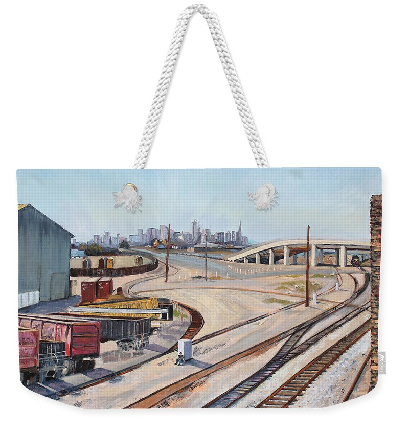 Urban Industrial Landscape Painting; Oil On Canvas Painting Weekender Tote Bag featuring the painting Waiting For The Train by Asha Carolyn Young