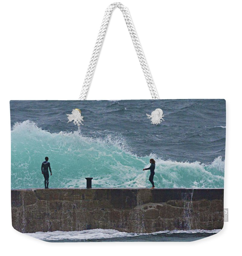 Breakwater Weekender Tote Bag featuring the photograph Waiting For The Wave by Terri Waters