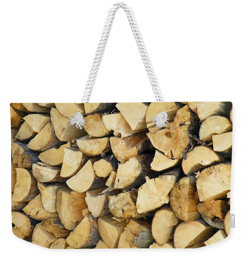 Firewood Weekender Tote Bag featuring the photograph Waiting For Winter by Brian Boyle