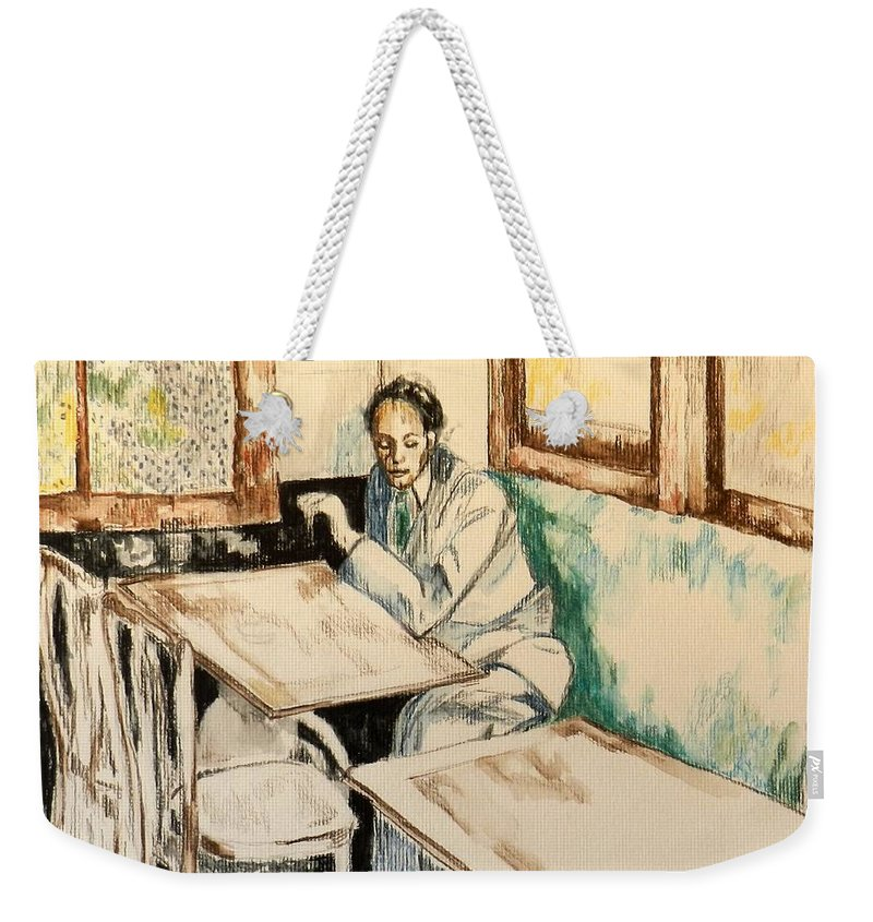 Cafe Scene Weekender Tote Bag featuring the drawing Waiting by Jolante Hesse