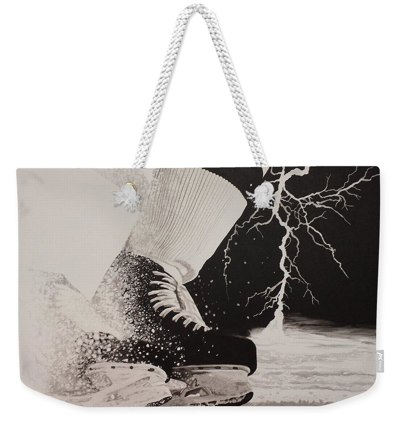 Painting Weekender Tote Bag featuring the painting Waiting on the thunder by Scott Robinson