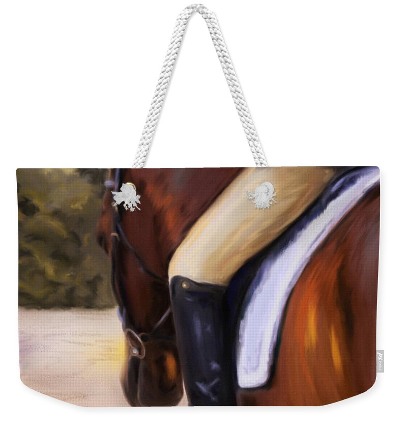 Dressage Weekender Tote Bag featuring the painting Waiting Our Turn by Michelle Wrighton