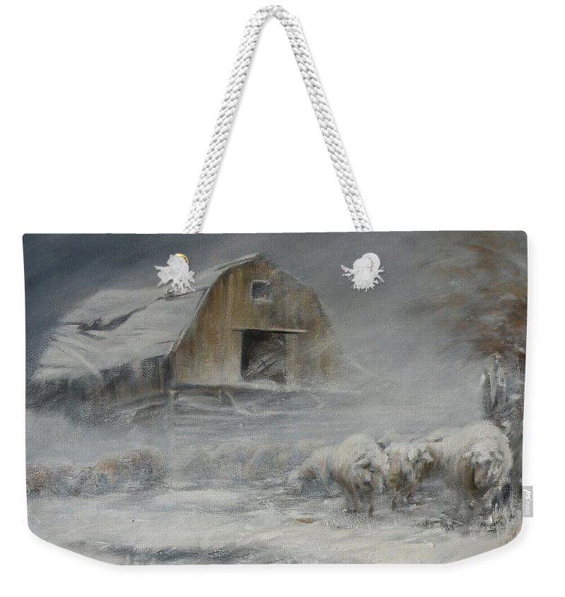 Sheep Weekender Tote Bag featuring the painting Waiting Out The Storm by Mia DeLode