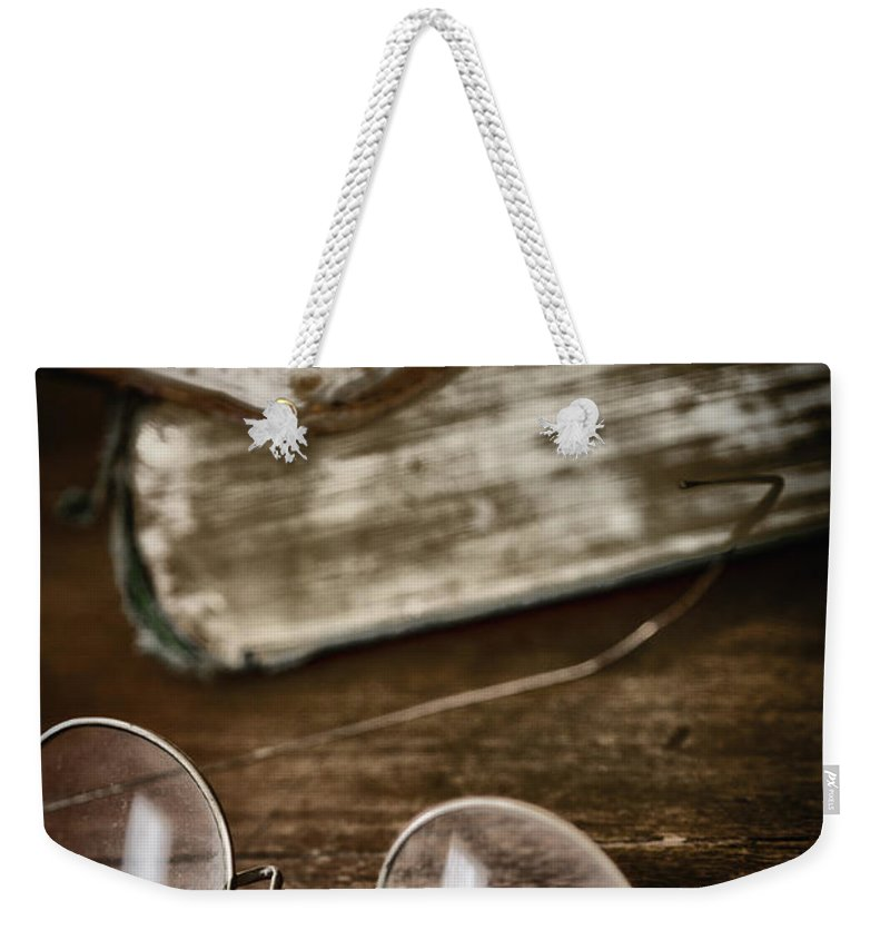 Books Weekender Tote Bag featuring the photograph Waiting To Be Read I by Margie Hurwich