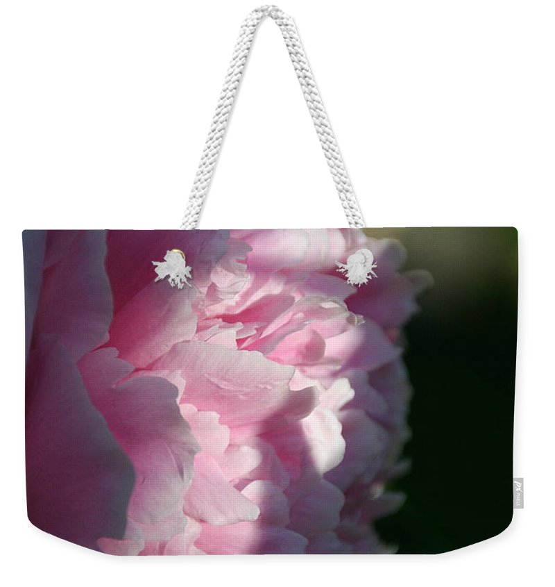 Flower Weekender Tote Bag featuring the photograph Wake Up Pink Peony by Susan Herber