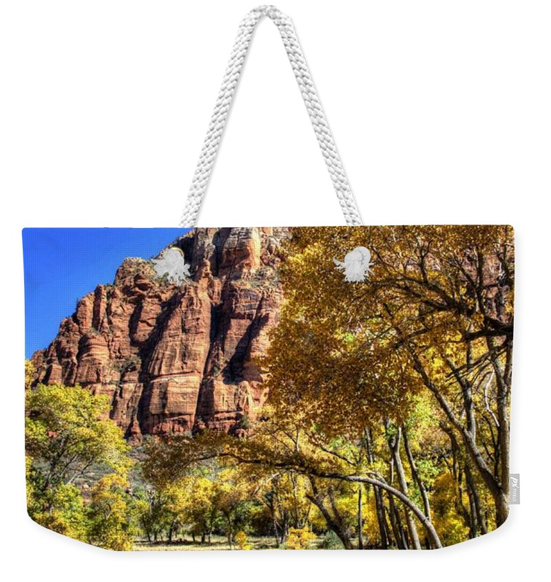 Zion National Park Weekender Tote Bag featuring the photograph Walk Along The River by Jon Berghoff