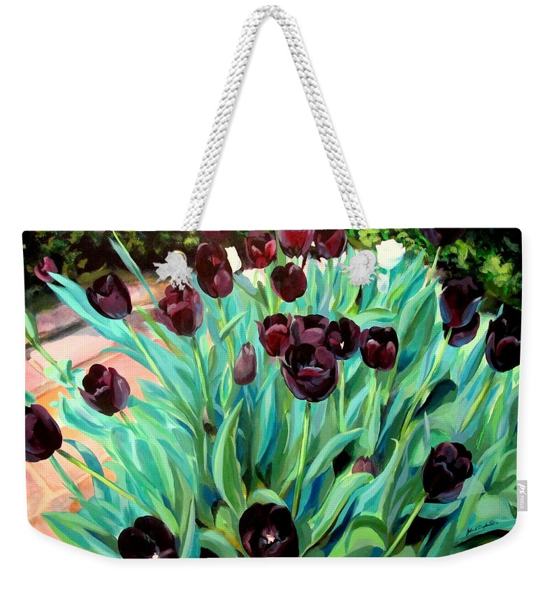 Tulips Weekender Tote Bag featuring the painting Walk Among The Tulips by John Duplantis
