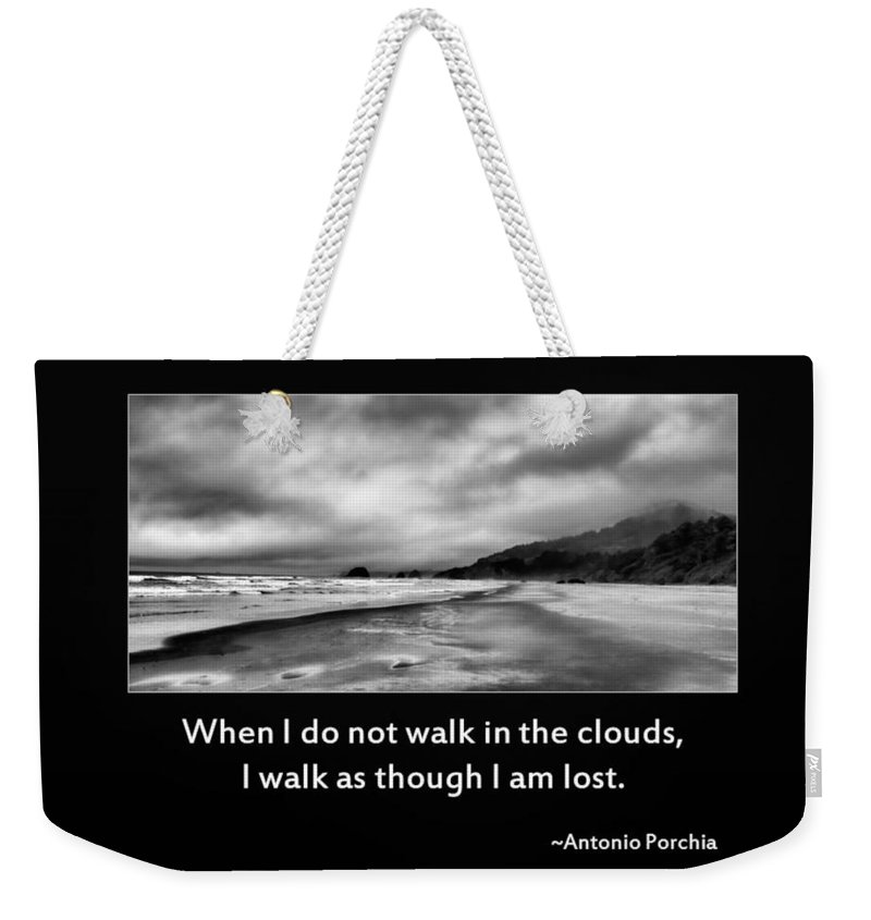 Inspirational Weekender Tote Bag featuring the photograph Walk In The Clouds by Don Schwartz