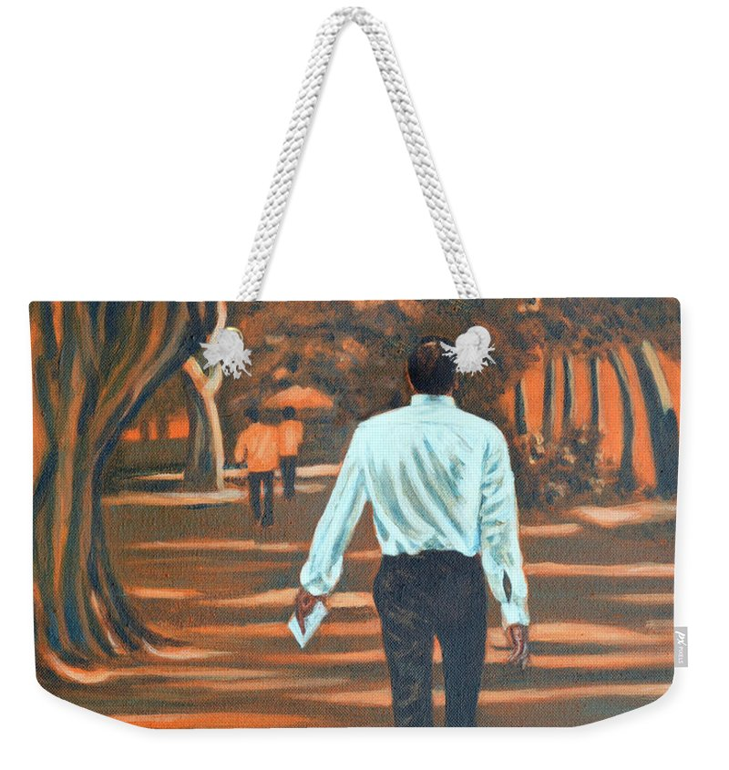 Usha Weekender Tote Bag featuring the painting Walk In The Woods by Usha Shantharam