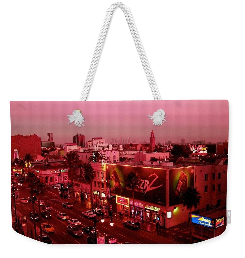 Hollywood Prints Weekender Tote Bag featuring the photograph Walk Of Fame In Pink by Monique's Fine Art