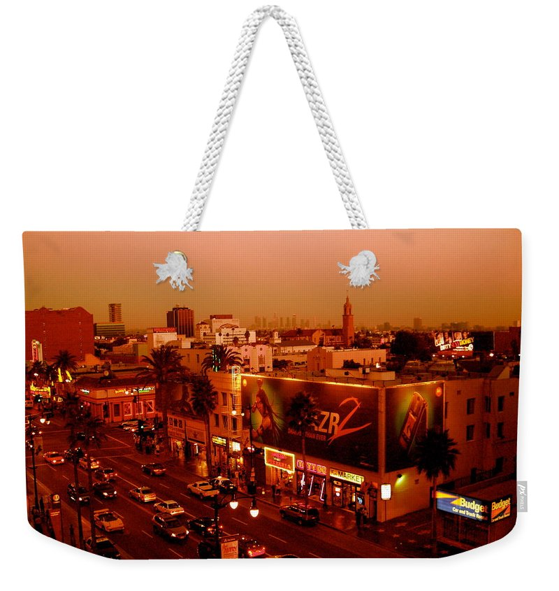 Hollywood Prints Weekender Tote Bag featuring the photograph Walk Of Fame Hollywood In Orange by Monique's Fine Art