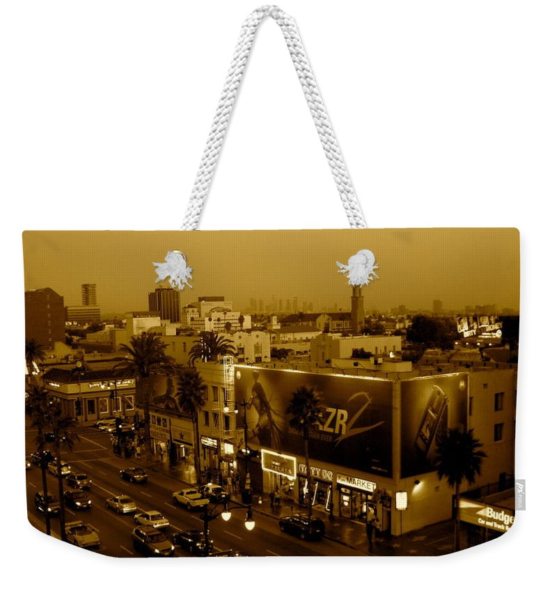 Hollywood Prints Weekender Tote Bag featuring the photograph Walk Of Fame Hollywood In Sepia by Monique's Fine Art