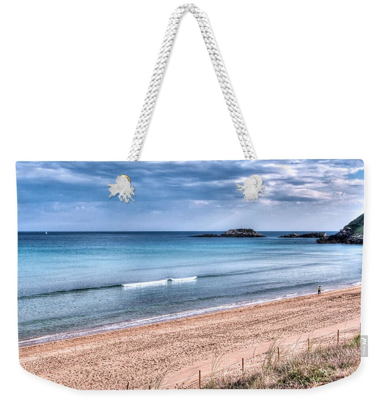 Walk Weekender Tote Bag featuring the photograph Walking The Beach On A Peaceful Morning by Weston Westmoreland