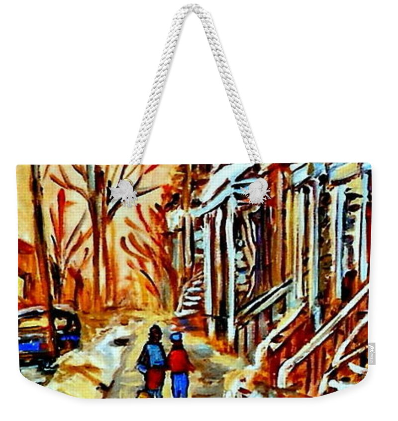 Montreal Weekender Tote Bag featuring the painting Walking The Dog By Balconville Winter Street Scenes Art Of Montreal City Paintings Carole Spandau by Carole Spandau