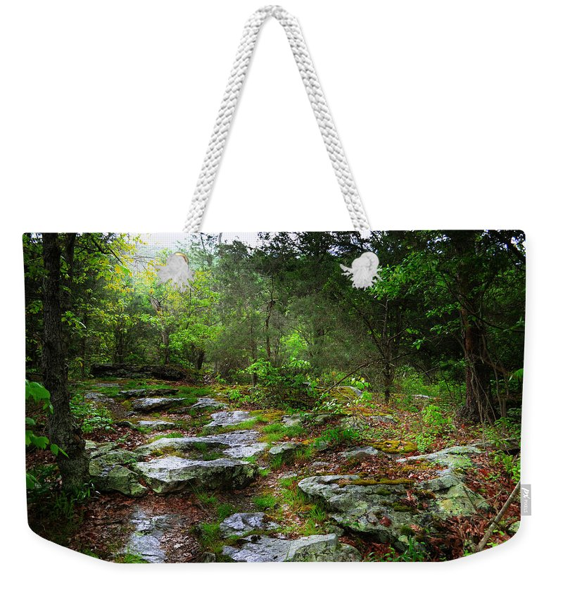 Paths Weekender Tote Bag featuring the photograph Walking With Light by Lj Lambert