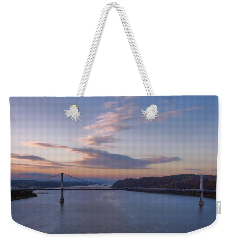 Joan Carroll Weekender Tote Bag featuring the photograph Walkway Over The Hudson Dawn by Joan Carroll