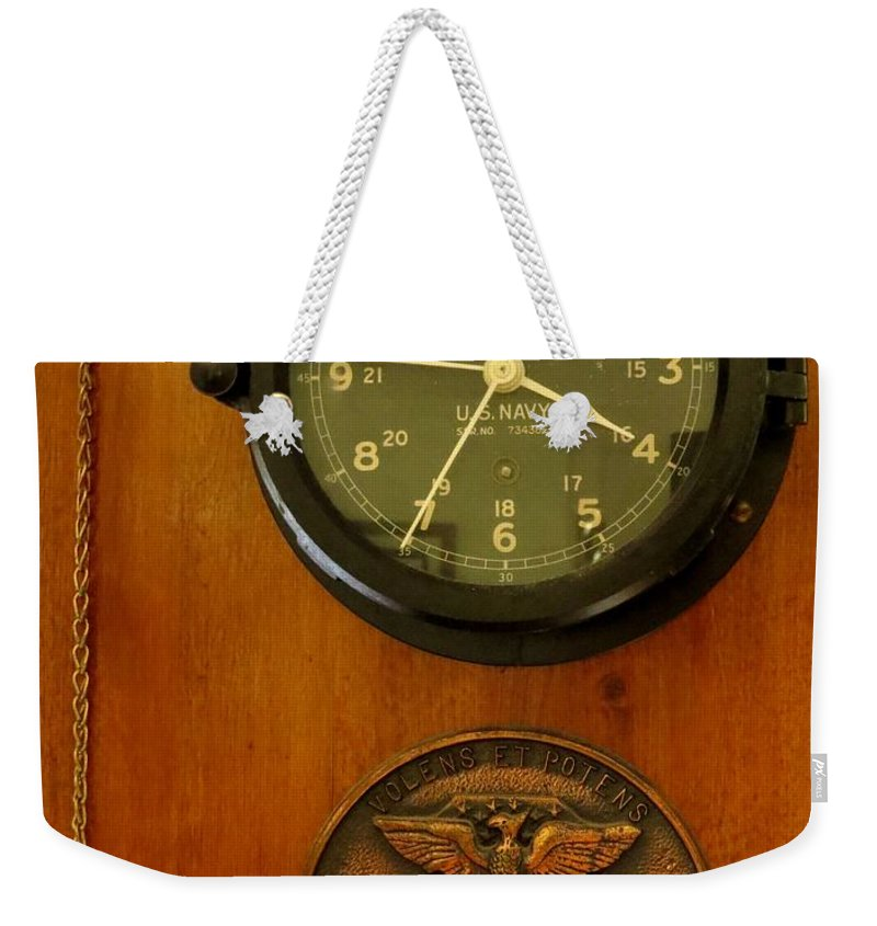 Antique Weekender Tote Bag featuring the photograph Wall Clock And Plague by Zina Stromberg