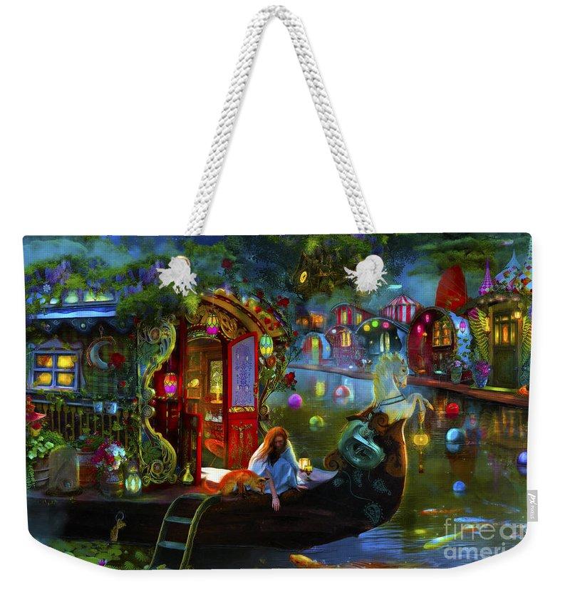 Fantasy Weekender Tote Bag featuring the digital art Wanderer's Cove by MGL Meiklejohn Graphics Licensing
