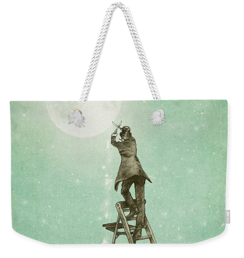 Moon Weekender Tote Bag featuring the digital art Waning Moon by Eric Fan