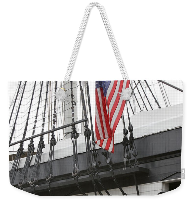 Flag Weekender Tote Bag featuring the photograph War Ship by John Cardamone