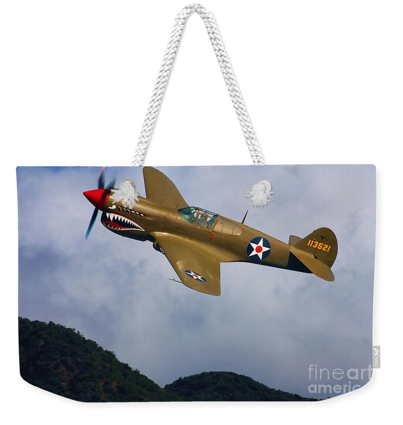 Curtiss Weekender Tote Bag featuring the digital art Warhawk Curtiss P-40 by Tommy Anderson