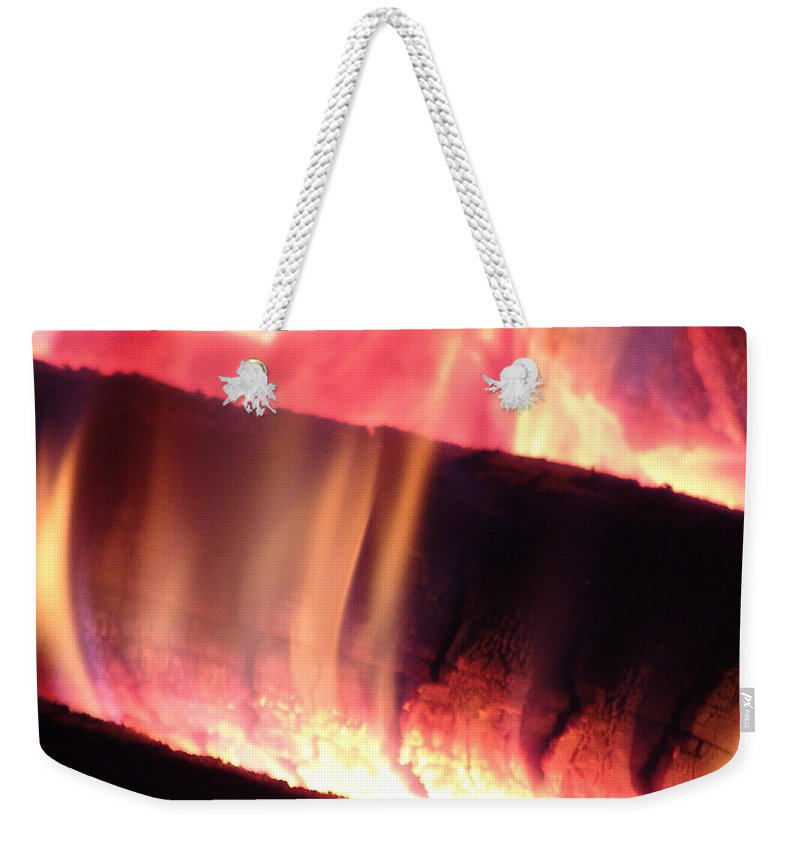 Fire Log Weekender Tote Bag featuring the photograph Warm Glowing Fire Log by James Scott Preston