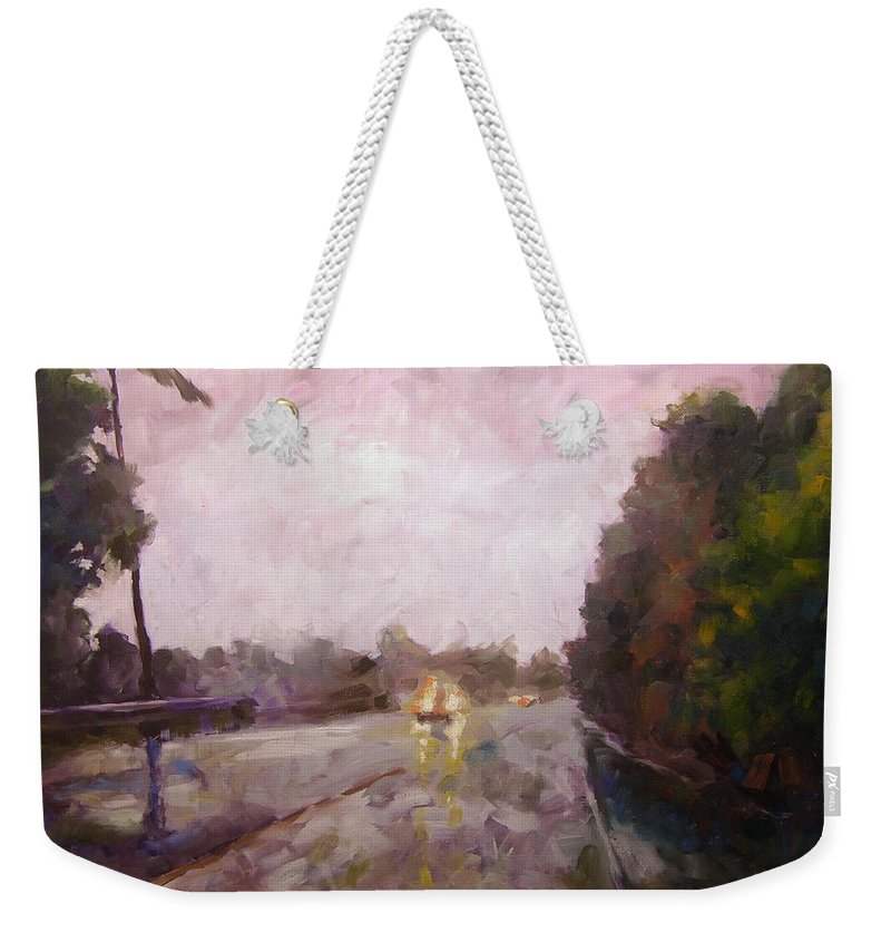Oil Weekender Tote Bag featuring the painting Warm Rain by Mary McInnis