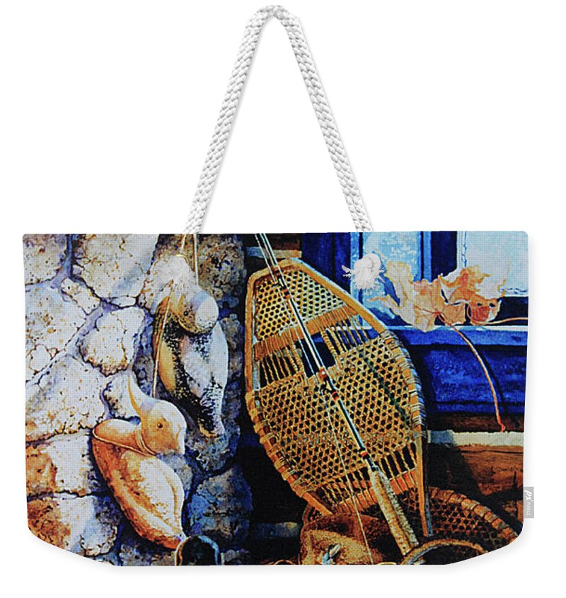 Masculine Still Life Paintings Weekender Tote Bag featuring the painting Warm Winter Wishes by Hanne Lore Koehler