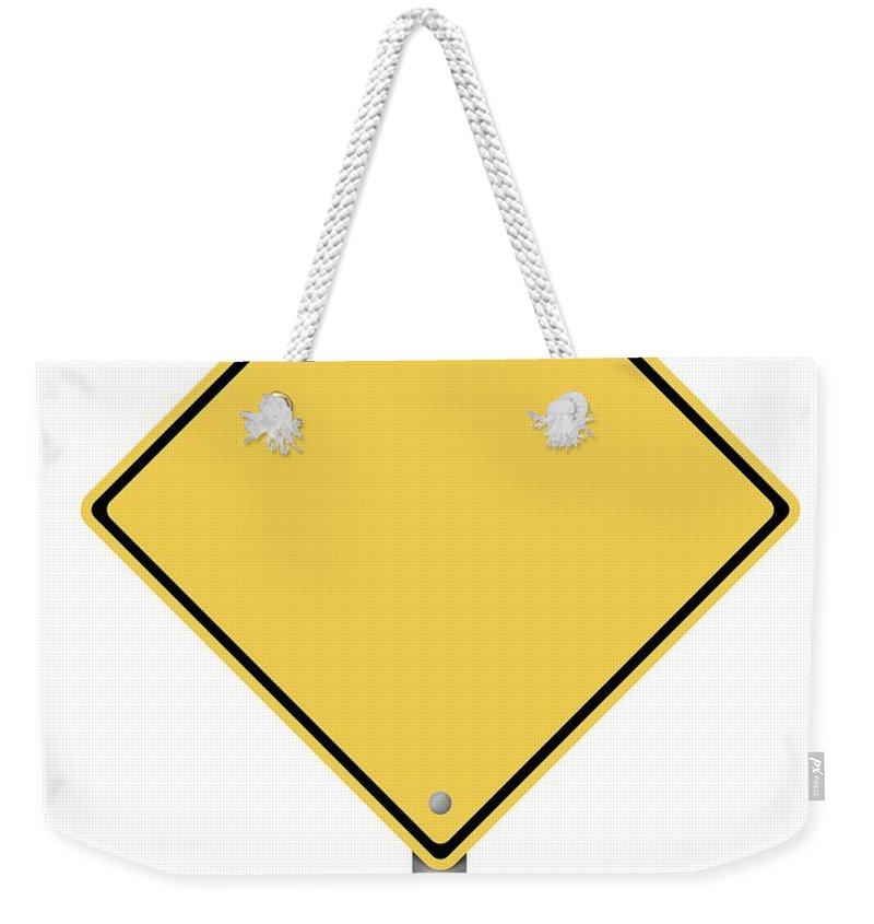Warning Weekender Tote Bag featuring the digital art Warning Sign by Henrik Lehnerer