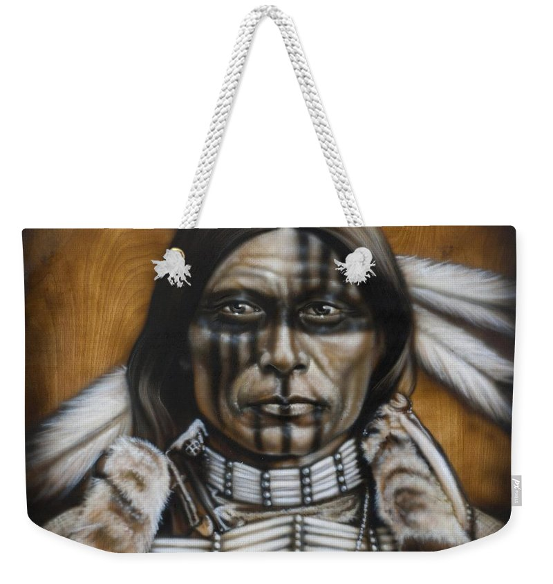 Native American Weekender Tote Bag featuring the painting Warpaint by Timothy Scoggins