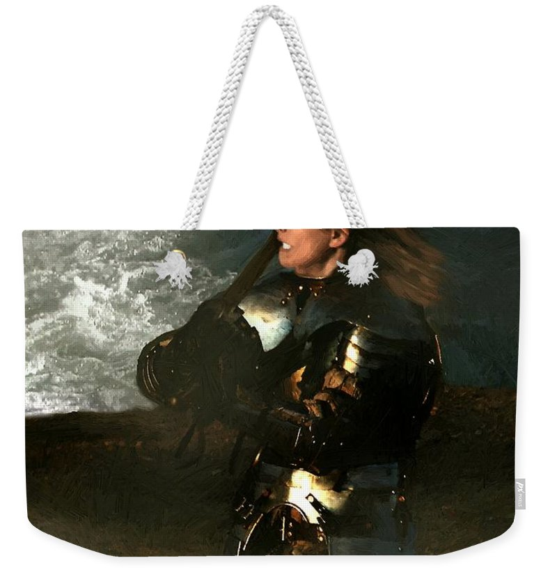 Woman Weekender Tote Bag featuring the painting Warrior Woman by RC DeWinter