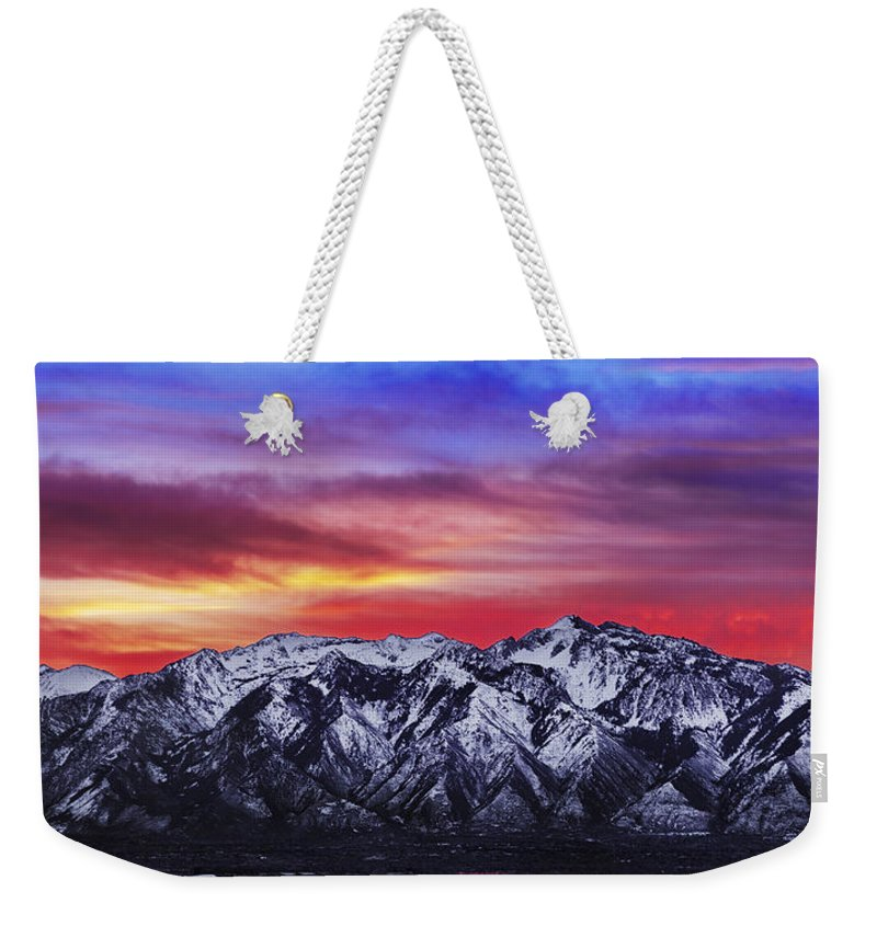 Sky Weekender Tote Bag featuring the photograph Wasatch Sunrise 2x1 by Chad Dutson