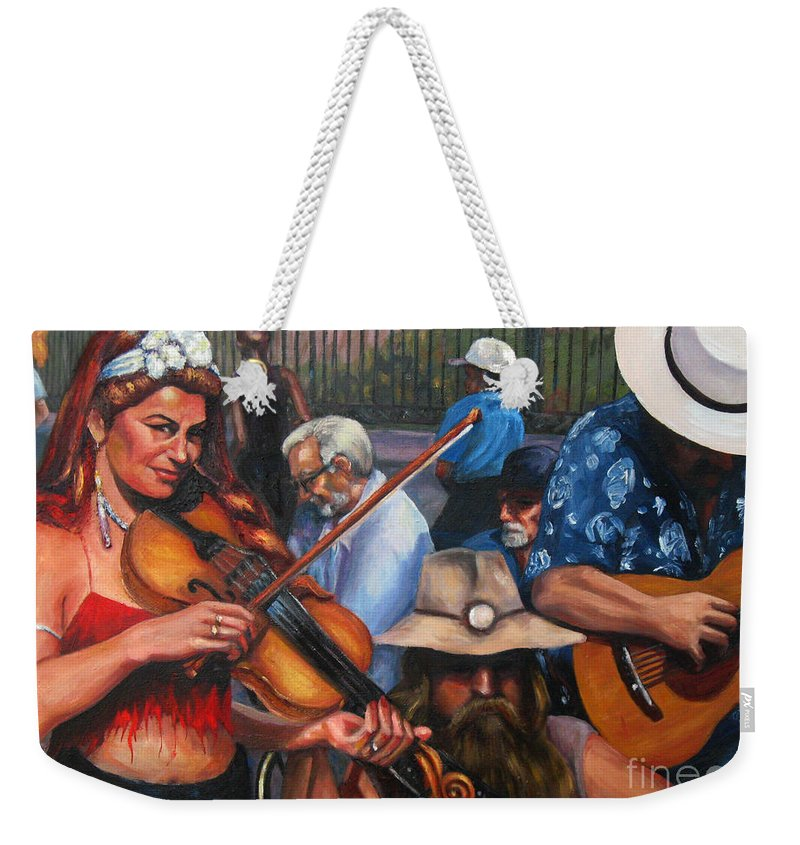 New Orleans Weekender Tote Bag featuring the painting Washboard Lissa On Fiddle by Beverly Boulet