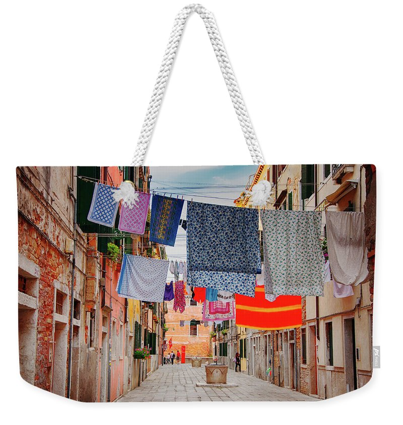 Hanging Weekender Tote Bag featuring the photograph Washing Hanging Across Street, Venice by Svjetlana