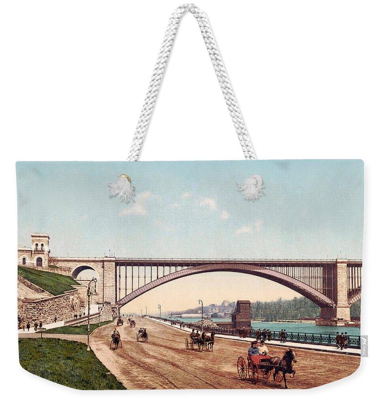 Washington Bridge Weekender Tote Bag featuring the digital art Washington Bridge 1901 by Unknown