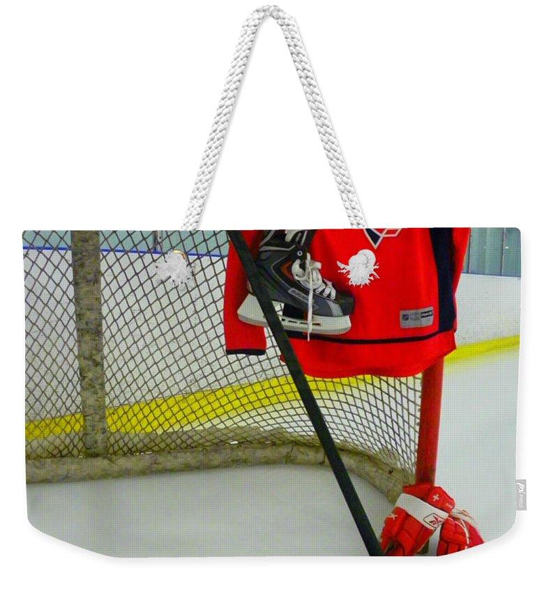 Washington Capitals Weekender Tote Bag featuring the photograph Washington Capitals Nicklas Backstrom Home Hockey Jersey by Lisa Wooten