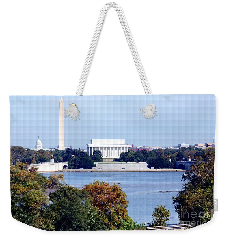 Potomac Weekender Tote Bag featuring the photograph Washington Dc Skyline by Bill Cobb