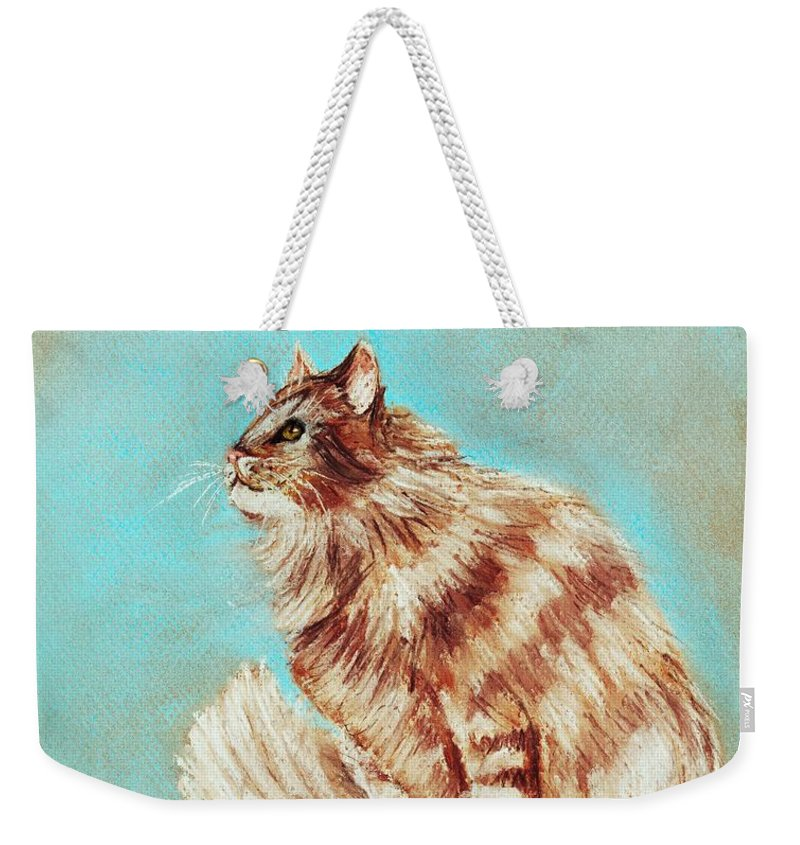 Malakhova Weekender Tote Bag featuring the painting Watch Cat by Anastasiya Malakhova
