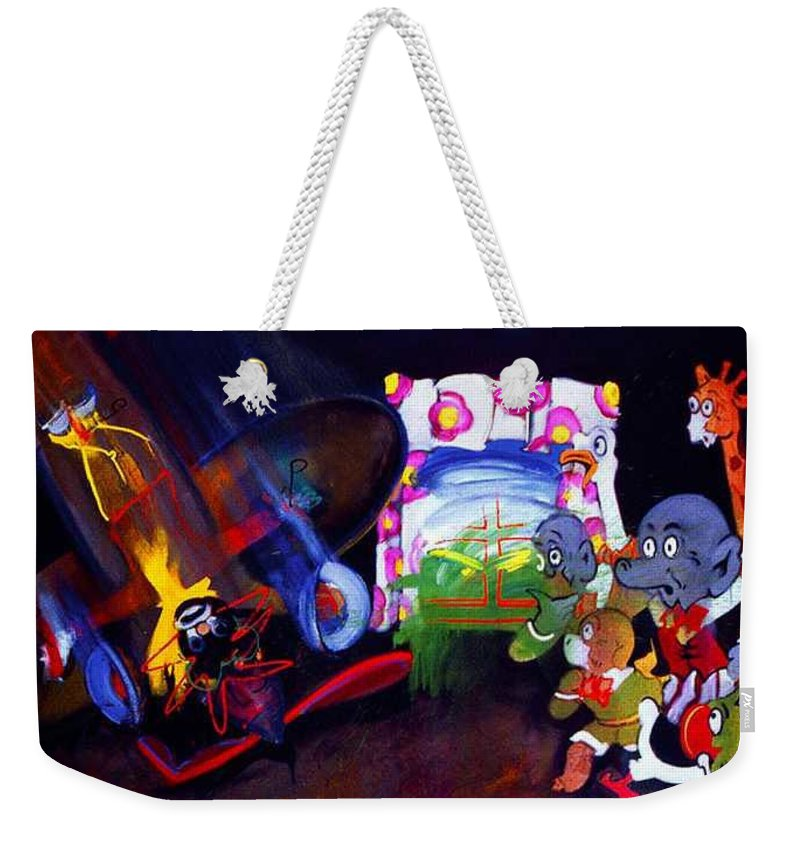 Cartoon Weekender Tote Bag featuring the painting Watch With Mother by Charles Stuart