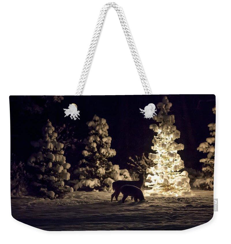 Deer Weekender Tote Bag featuring the photograph Watchful Eye by Aaron Aldrich