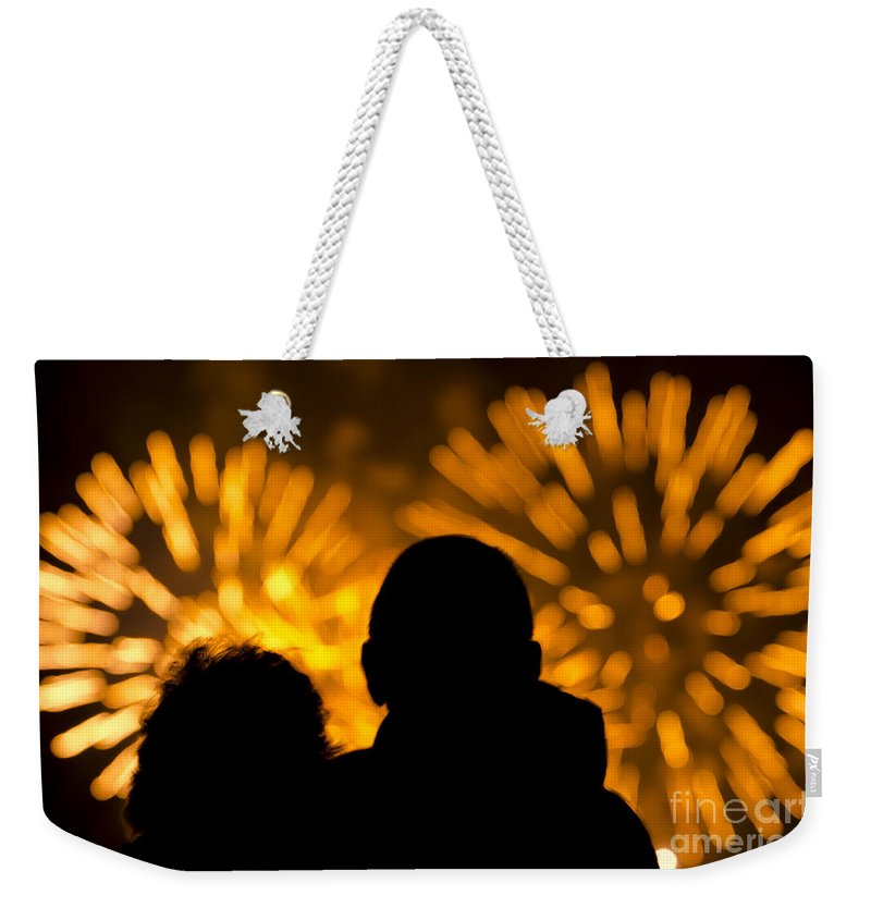 Fireworks Weekender Tote Bag featuring the photograph Watching Fireworks by Mats Silvan