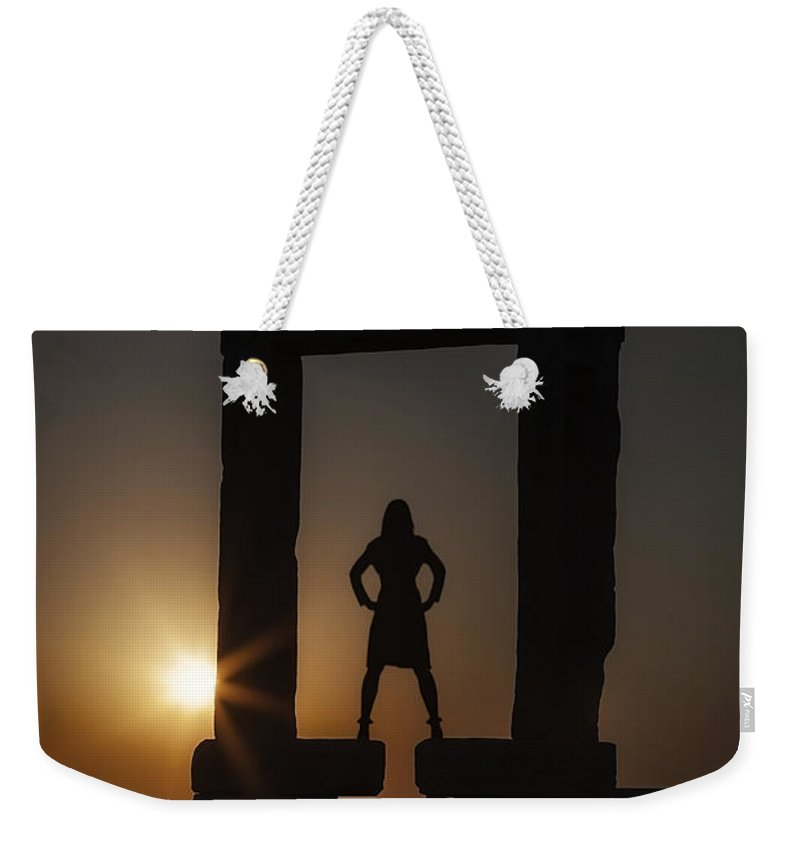 Girl Weekender Tote Bag featuring the photograph Watching Sunset by Joana Kruse