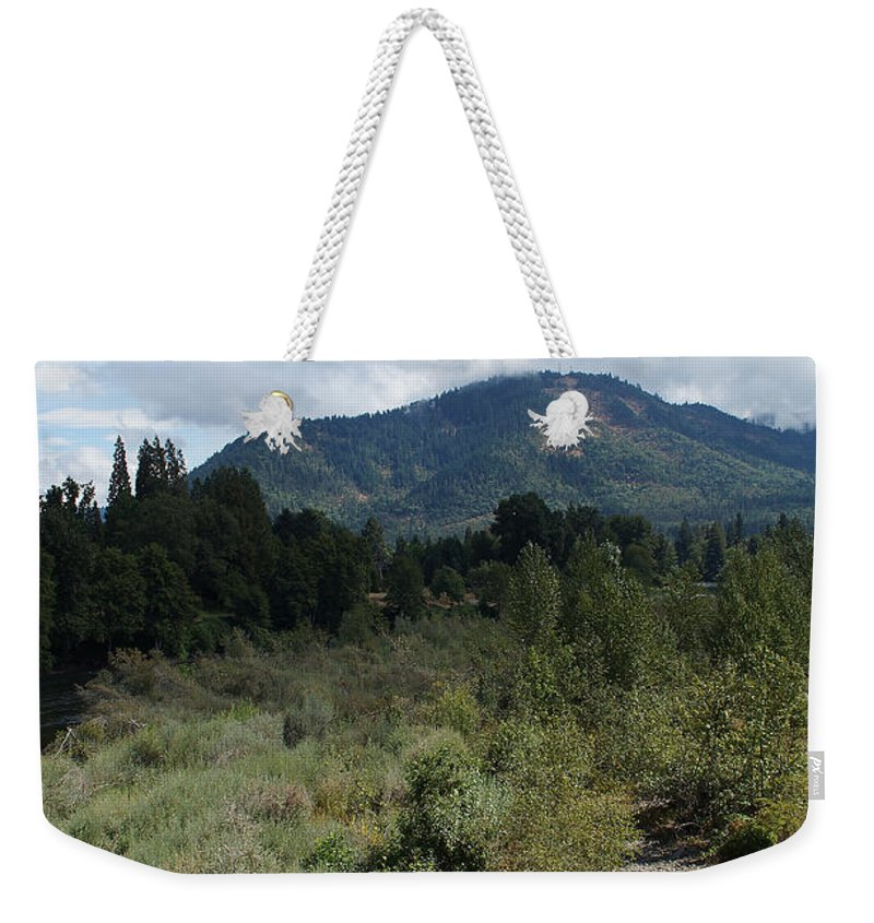 Water-carved Weekender Tote Bag featuring the photograph Water-carved Base Rock And Mt Baldy by Mick Anderson