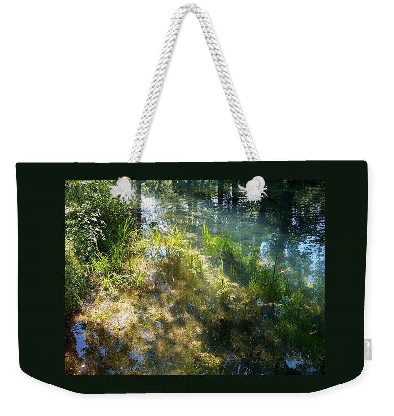 Landscape Weekender Tote Bag featuring the photograph Water Colors by Mary Wolf