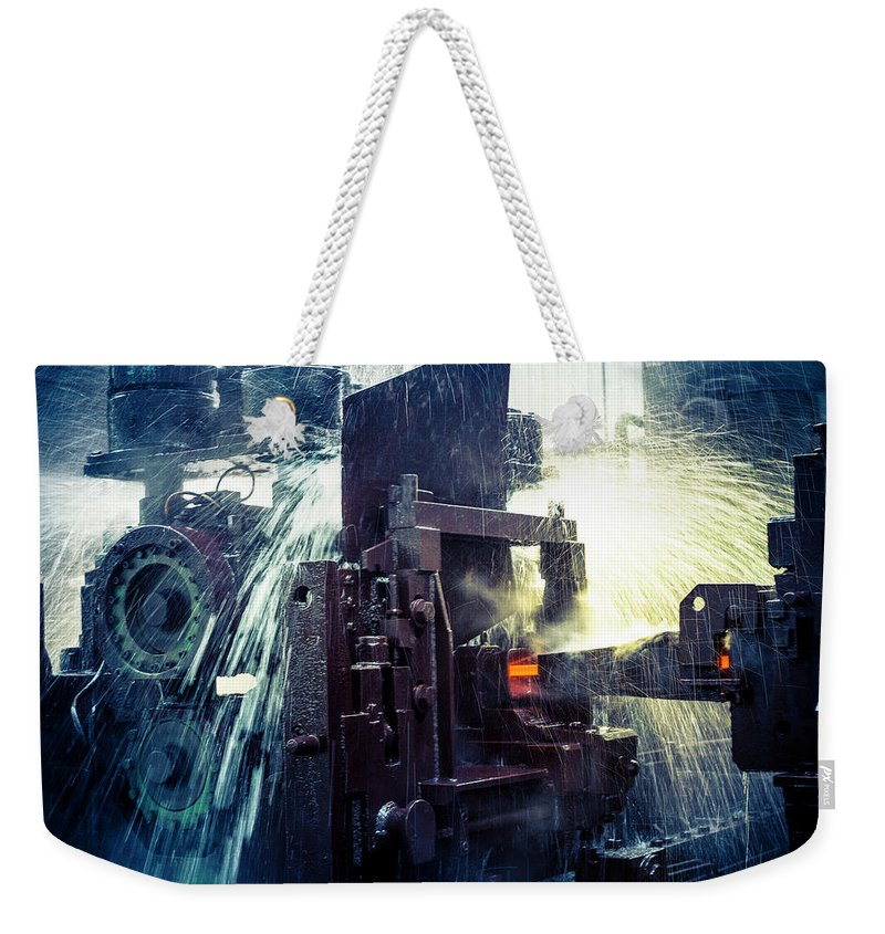 Metalwork Weekender Tote Bag featuring the photograph Water Cooling Of Roling Mill Line by Chinaface