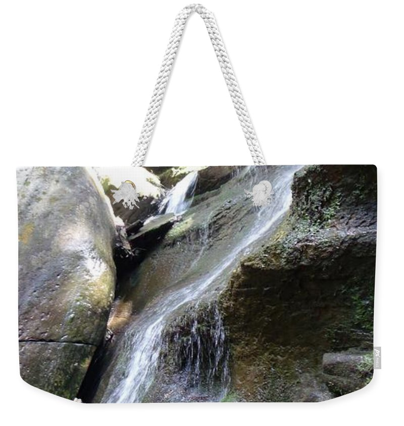 Water Weekender Tote Bag featuring the photograph Water Fall In Hocking Hills by Wendy Gertz