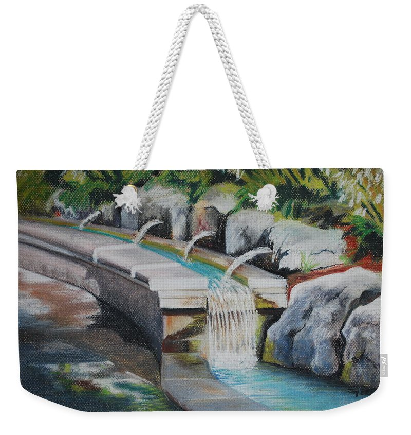 Water Weekender Tote Bag featuring the pastel Water Fall In The Gratto by Joy Bradley