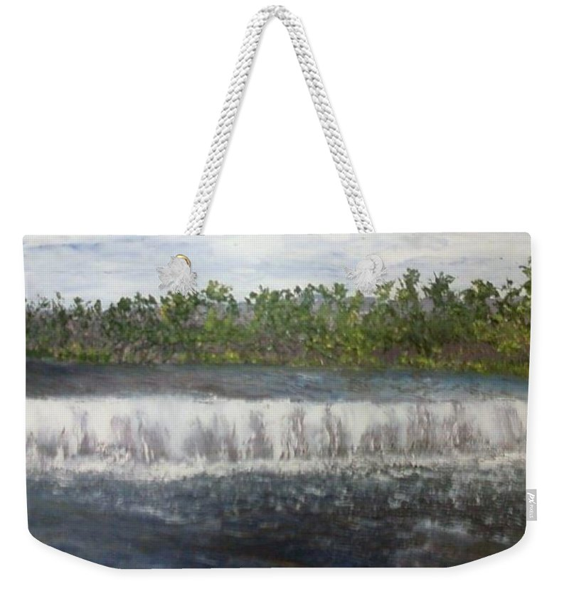 Water Falls Weekender Tote Bag featuring the painting Water Falls over the Dam by Sheila Mashaw